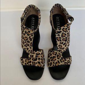 ANYI LU Leather Animal Print Heels